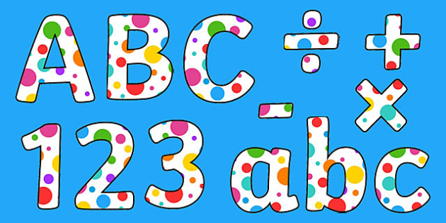 Multicoloured Polka Dot Display Alphabet - display, alphabet