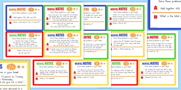 Mental Maths Challenge Cards - australia, mental maths, challenge, cards