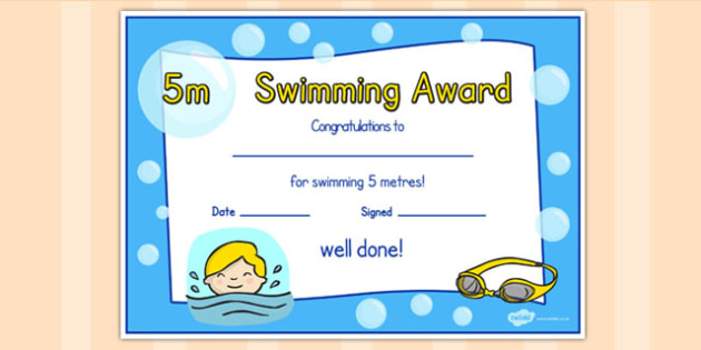 5m Swimming Certificate - swimming, certificate, 5m, awards