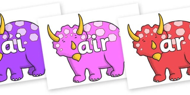 Phase 3 Phonemes on Triceratops - Phonemes, phoneme, Phase 3, Phase three, Foundation, Literacy, Letters and Sounds, DfES, display