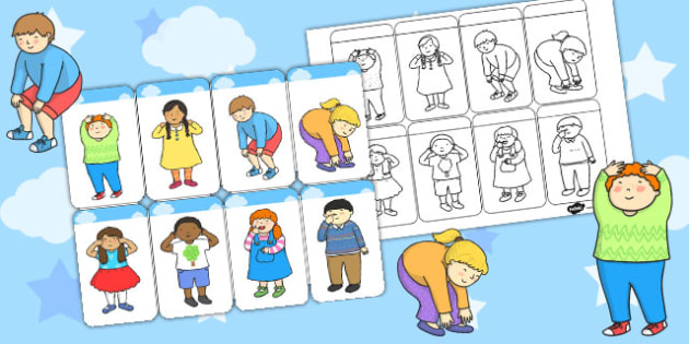 Head Shoulders Knees and Toes Prompts - visual, prompt, cards