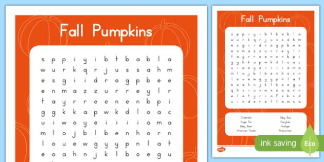Fall Pumpkins Word Search