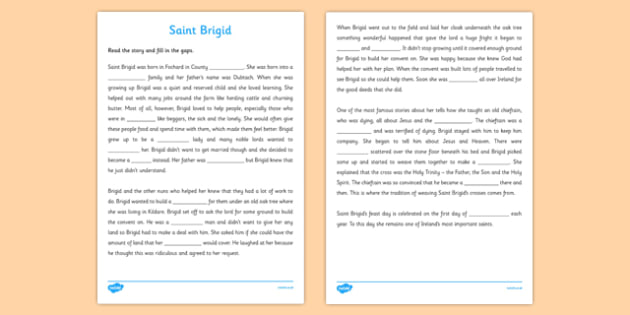 Saint Brigid Cloze Activity Sheet - gaeilge, Saint Brigid, Story, Cloze, Comprehension, reading, worksheet