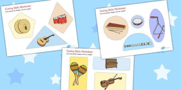 Musical Instrument Cutting Skills Worksheets - musical instrument