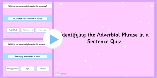 Identifying an Adverbial Phrase in a Sentence Grammar PowerPoint