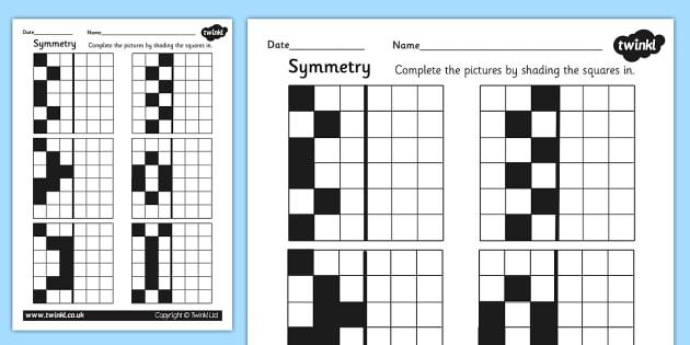 Symmetry Activity Sheet - symmetrical, numeracy, math, maths worksheet, symmetry, reflection