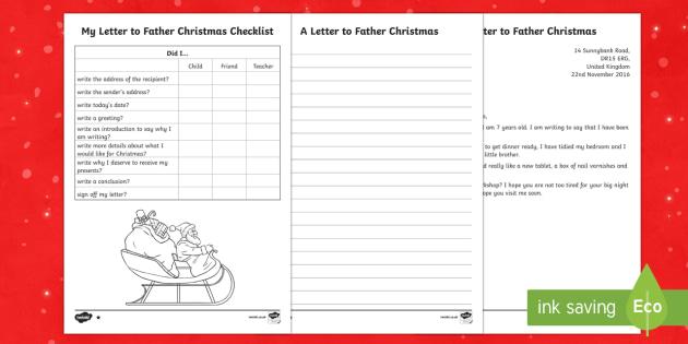 KS1 Differentiated Letter to Father Christmas Writing Sample - Christmas, Nativity, Jesus, xmas, Xmas, Father Christmas, Santa, Father Christmas, letter to Santa,