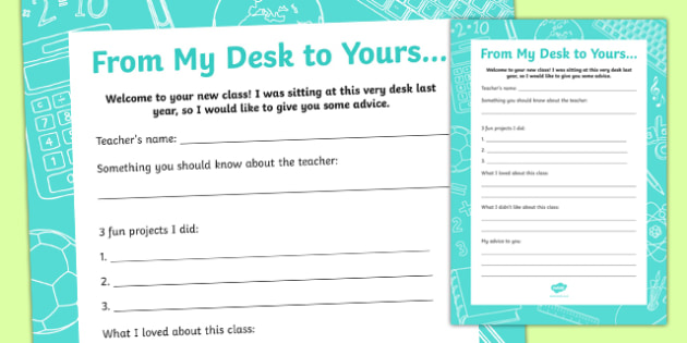 From My Desk to Yours... Activity Sheet, worksheet