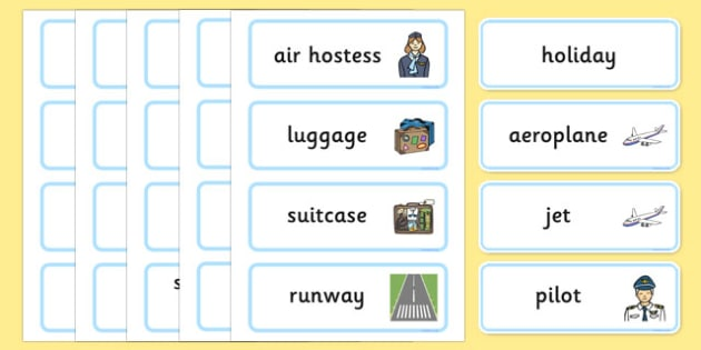 Holiday & Travel Topic Word Cards - Holidays, word card, flashcards, labels, holiday, travel, role play, display poster, poster, sign, holidays, agent, booking, plane, flight, hotel