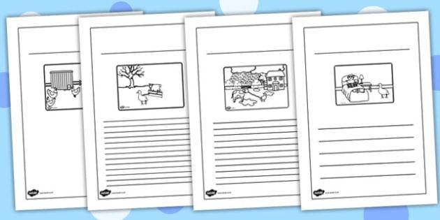 Farmer and Duck Story Writing Frames - farmer duck, writing frames, lined, frames for writing, themed writing frames, writing template, colour and write, story