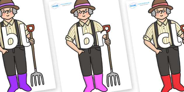 Initial Letter Blends on Enormous Turnip Farmer - Initial Letters, initial letter, letter blend, letter blends, consonant, consonants, digraph, trigraph, literacy, alphabet, letters, foundation stage literacy