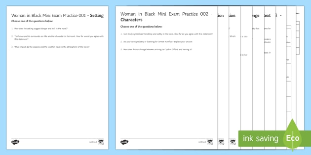 The Woman in Black Mini Exam Pack - The Woman in Black, revision, mock exam, questions.