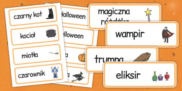 Karty ze słownictwem Halloween po polsku - wiedźma, duch