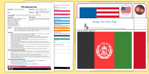 EYFS American Flag Shape Printing Adult Input Plan and Resource Pack - EYFS, Early Years planning, adult led, America, USA, country, celebration, Independence Day, 4th July