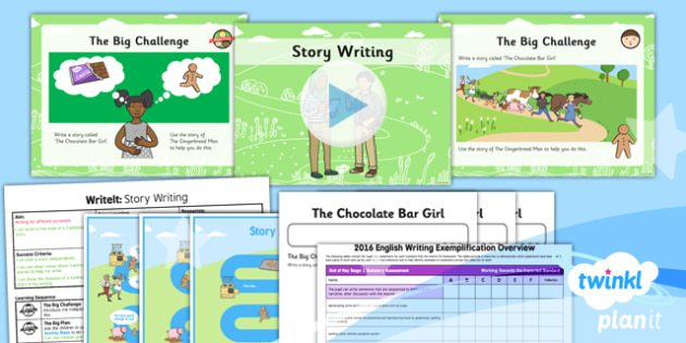 PlanIt Y2 The Gingerbread Man WriteIt Lesson Pack Story Writing - traditional stories, traditional tales, assessment, test, big write