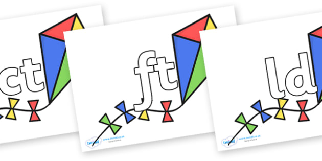 Final Letter Blends on Kites - Final Letters, final letter, letter blend, letter blends, consonant, consonants, digraph, trigraph, literacy, alphabet, letters, foundation stage literacy