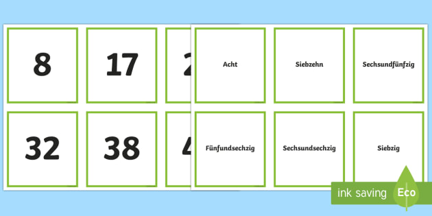 Numbers up to One Hundred Matching Cards-German - Numbers, Counting, German, maths, numeracy, ks1, ks2, one, hundred, German
