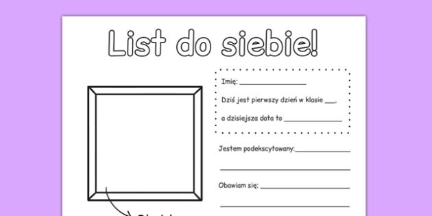 Arkusz List do siebie po polsku - o sobie, wypełnianka, polski