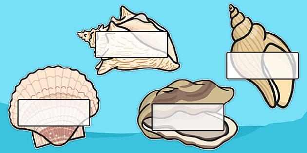 Editable Under the Sea Shells - Under the sea, sea, seaside, display, editable, label, water, tide, fish, sea creatures, shark, whale, marine, dolphin, starfish, waves, sand