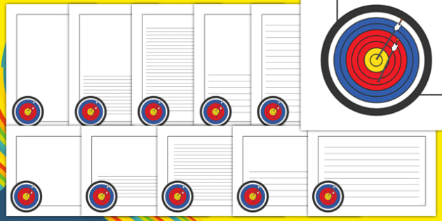 The Olympics Archery Page Borders - Olympics, Olympic Games, sports, Olympic, London, 2012, page border, border, writing template, writing aid, writing aid, Olympic torch, flag, countries, medal, Olympic Rings, mascots, flame, compete, archery, arche
