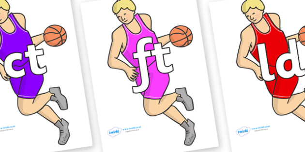 Final Letter Blends on Basketball Players - Final Letters, final letter, letter blend, letter blends, consonant, consonants, digraph, trigraph, literacy, alphabet, letters, foundation stage literacy