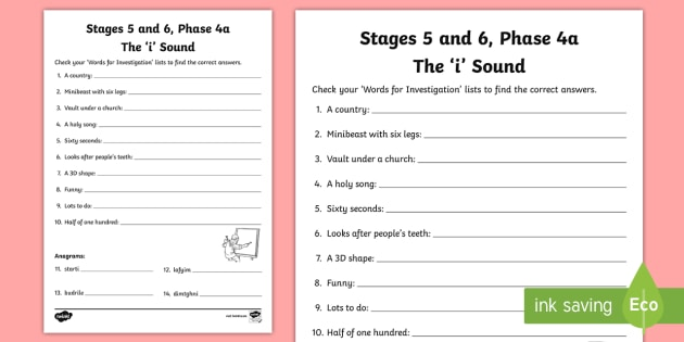 Northern Ireland Linguistic Phonics Stage 5 and 6 Phase 4a, 'i' Sound Word Work Activity Sheet - Linguistic Phonics, Stage 5, Stage 6, Phase 4a, Worksheet, Northern Ireland, 'i' sound, word wor