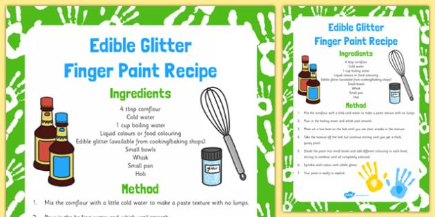 Edible Glitter Finger Paint Recipe - edible paint, Christmas, eyfs, edible, glitter, finger paint