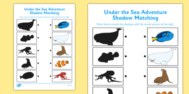 Under the Sea Adventure Shadow Matching Activity Sheet - finding nemo, finding dory, under the sea adventure, shadow matching, worksheet