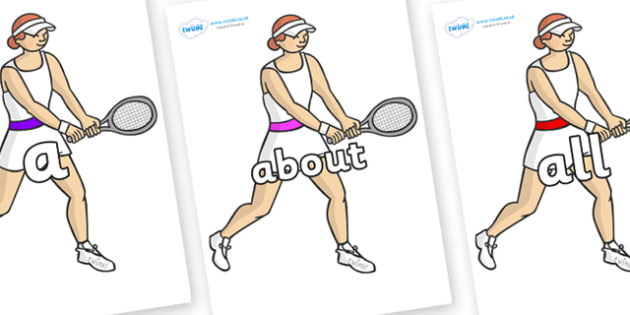 100 High Frequency Words on Tennis Players - High frequency words, hfw, DfES Letters and Sounds, Letters and Sounds, display words