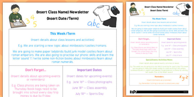 KS1 Editable Newsletter Template - ks1, editable, newsletter
