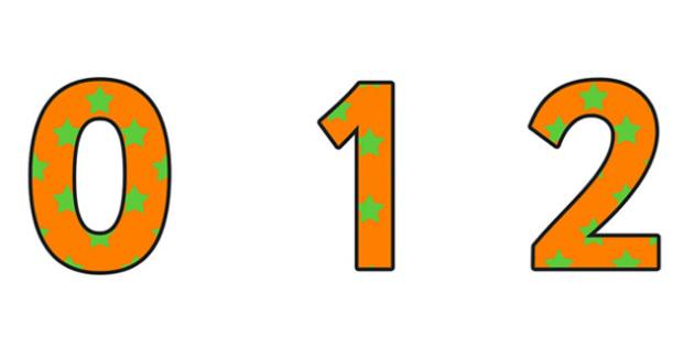 Orange and Green Stars Display Numbers - orange and green Stars, Stars Display Numbers, display numbers, numbers on stars