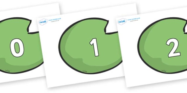 Numbers 0-31 on Lily Pads - 0-31, foundation stage numeracy, Number recognition, Number flashcards, counting, number frieze, Display numbers, number posters