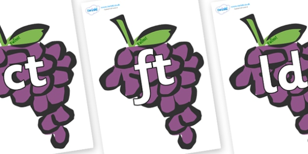 Final Letter Blends on Grapes - Final Letters, final letter, letter blend, letter blends, consonant, consonants, digraph, trigraph, literacy, alphabet, letters, foundation stage literacy