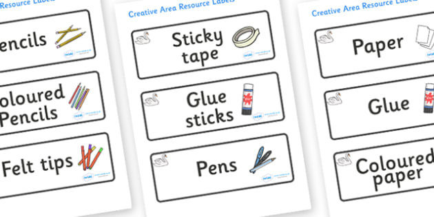 Swan Themed Editable Creative Area Resource Labels - Themed creative resource labels, Label template, Resource Label, Name Labels, Editable Labels, Drawer Labels, KS1 Labels, Foundation Labels, Foundation Stage Labels