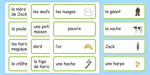 Jack and the Beanstalk Word Cards French -  EAL, translated, traditional tales, fairy tales,