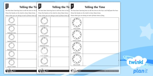 Telling the Time Home Learning Tasks - Measurement, measures, telling the time, tell the time, analogue clock, clock, telling time to the h