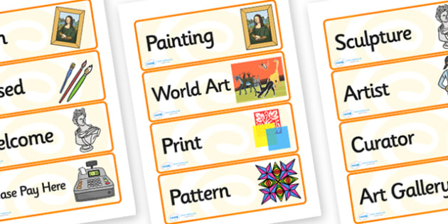 Art Gallery Role Play Labels - art gallery, role play, labels, art gallery labels, role play labels, labels for art gallery, labels for role play,