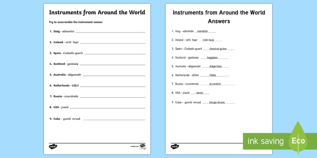 Instruments from Around the World Activity Sheet - Canadian Multiculturalism Day Resources
