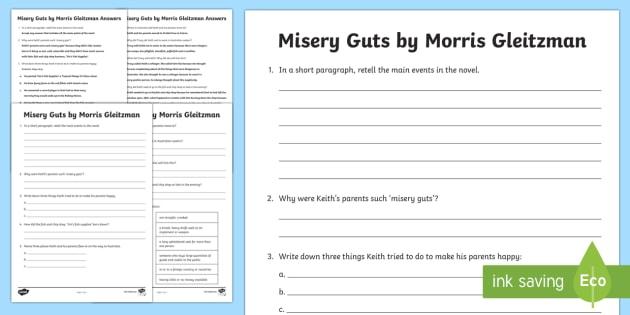 Misery Guts by Morris Gleitzman Quiz Activity Sheet - Literacy, australian curriculum, novel study, misery guts by morris gleitzman, misery guts, comprehe