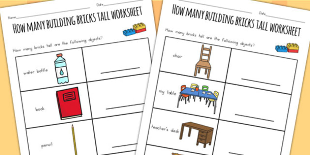How Many Legos Tall Worksheet - counting, count, measure, count