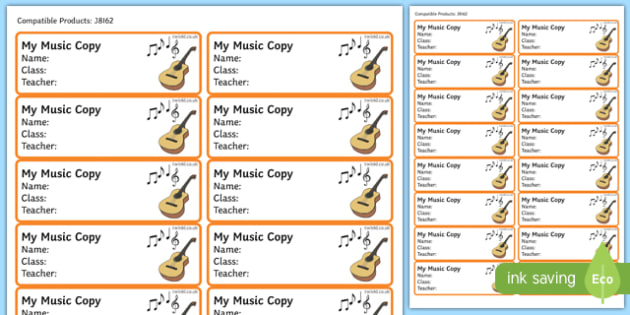Pupil Music Copybook Labels-Irish