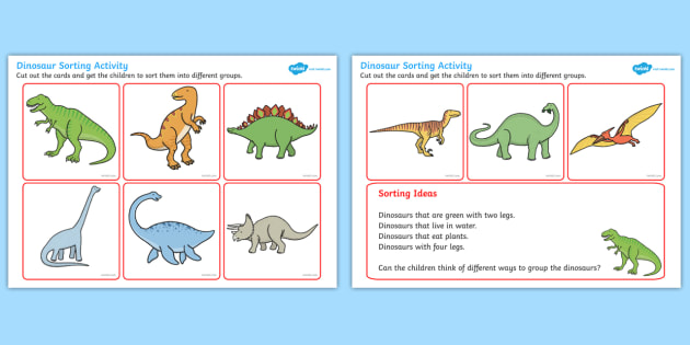 Dinosaur Sorting Activity - dinosaur, sorting, activity, sorting activity, dinosaur activity, different dinosaurs, groups activity, groups of dinosaurs