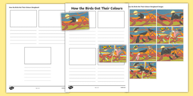Aboriginal Dreamtime How the Birds Got Their Colours Storyboard Template-Australia