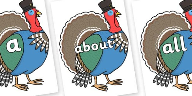 100 High Frequency Words on Turkey Lurky - High frequency words, hfw, DfES Letters and Sounds, Letters and Sounds, display words