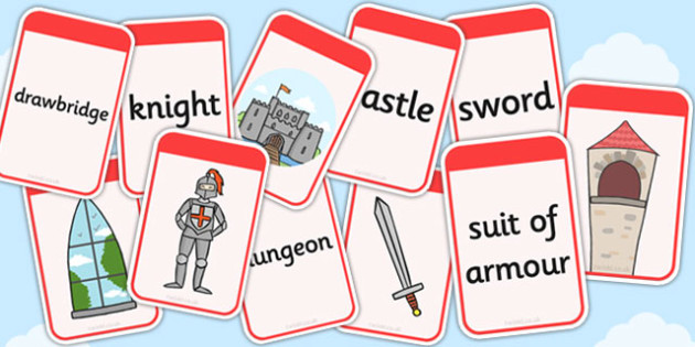 Castles and Knights Matching Flashcards - flashcards, castles
