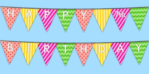 Happy 7th Birthday Bunting - 7th birthday party, 7th birthday, birthday party, bunting