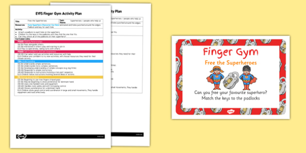 EYFS Free the Superheroes Finger Gym Activity Plan and Prompt Card Pack