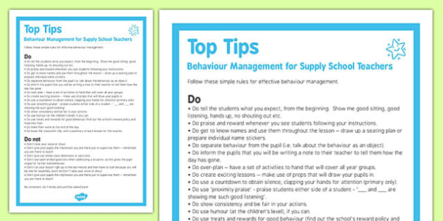 Behaviour Management Tips For Supply Teachers - behaviour, management, tips, supply teachers