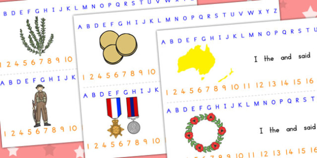 Anzac Day Combined Number Alphabet Strips - visual aids, a-z