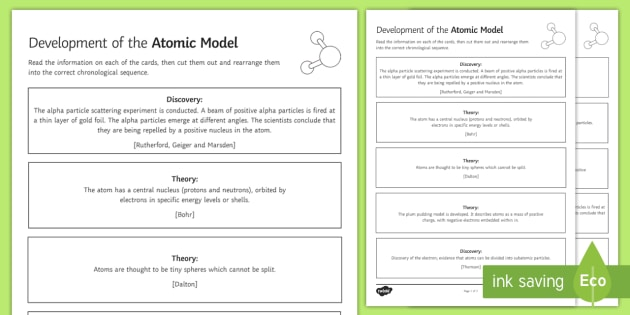Development of the Atomic Model Sequencing Cards - Sequencing Cards, card sort, atom, atomic model, bohr, rutherford, thomson, evidence